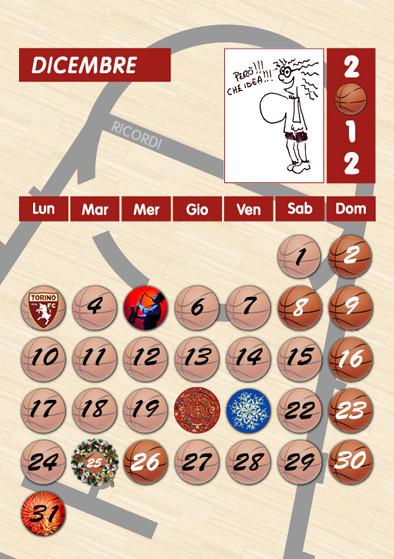 Calendario basket, concept grafico, impaginazione e stampa