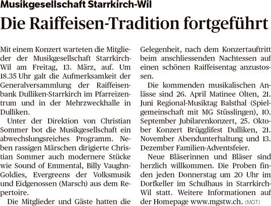 Oltner Tagblatt 20.3.2015