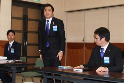 オブザーバーとしてお越しいただいた(左から)京都ブロック協議会の篠塚泰寛・公益財政委員長、山本仁士・運営専務、渡邊東高・会長補佐