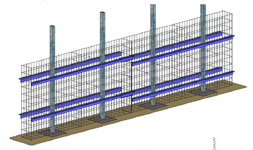 Etape 4 : Positionner finalement les barres d'alignement à l'intérieur des grilles pour renforcer le mûr et procéder ensuite au remplissage des pierres.