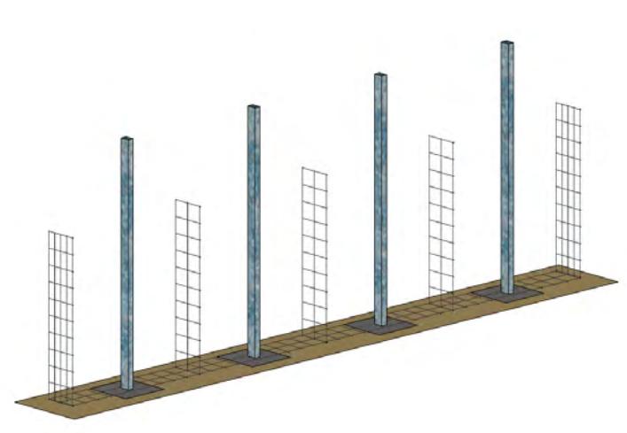 Etape 2 : Poser et assembler les panneaux de grillage au sol à l'aide d'un système de spirales ou d'agrafes.