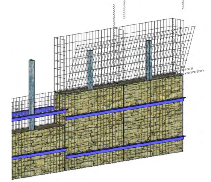 Etape 5 : Une fois les grillages remplis de pierres, refermer à l'aide du couvercle et répéter l'opération autant de fois que le mur a d'étages.