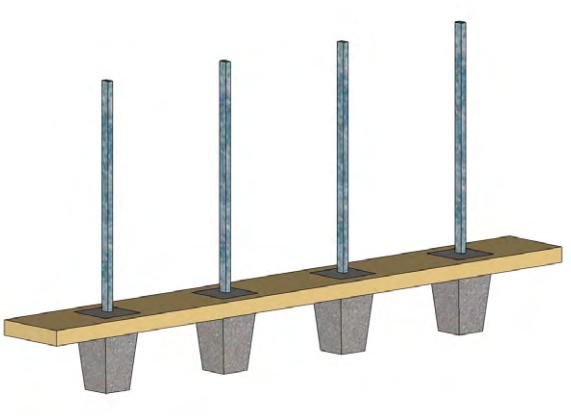 Etape 1 : Préparer le sol avant d'accueillir les poteaux raidisseurs stabilisés par du béton.