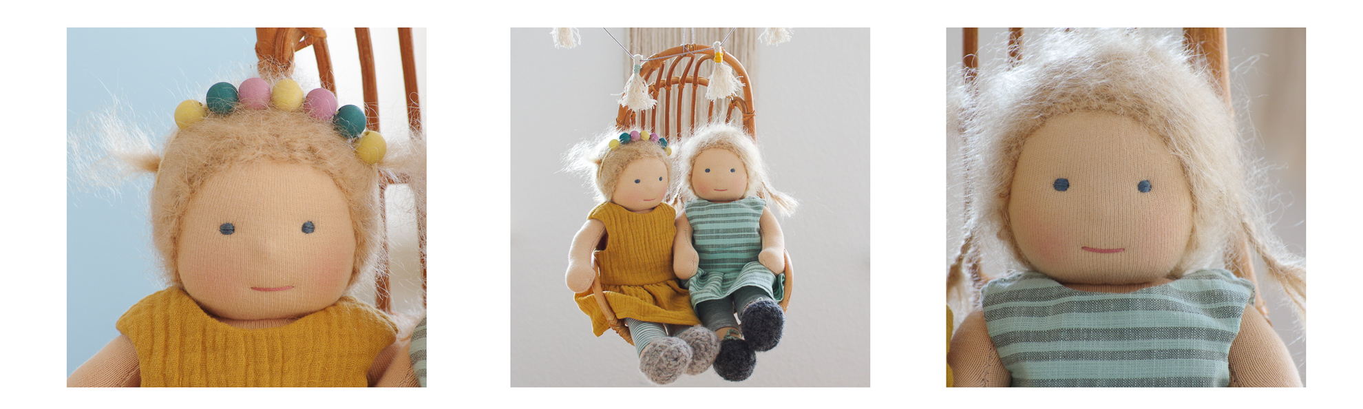 custom handmade dolls made from natural materials sitting in a lounge chair