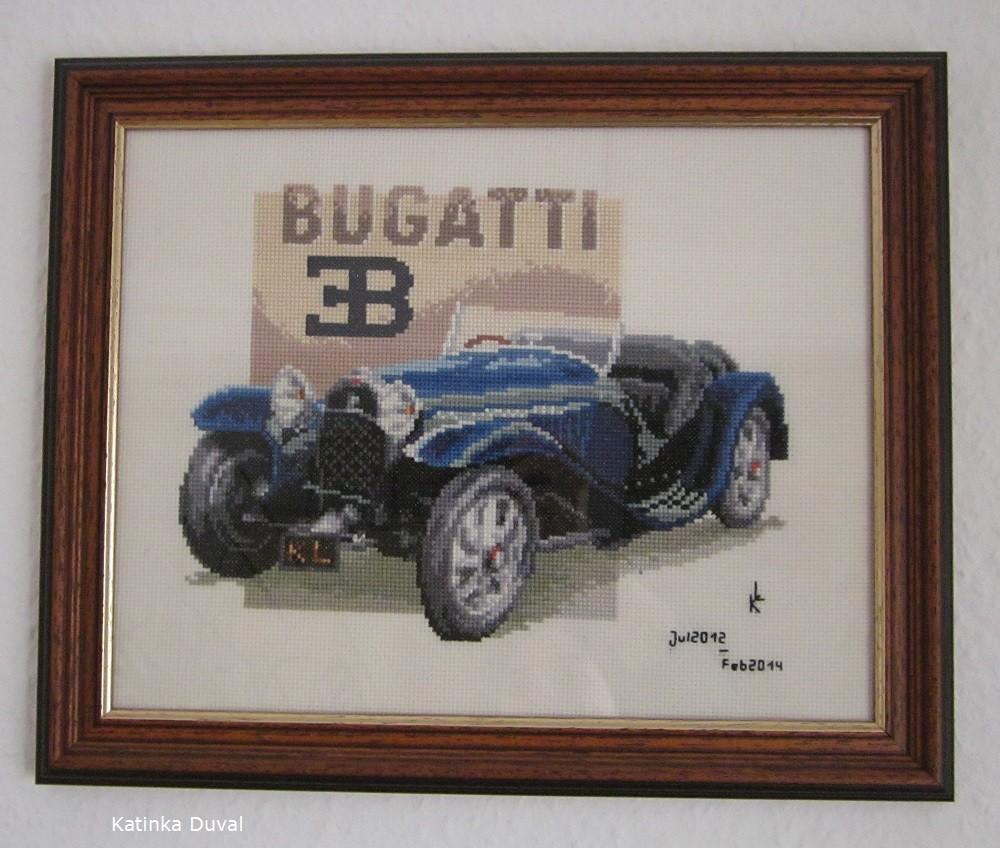 Das erste Stickbild, ein Bugatti. Ich habe im Juli 2012 angefangen, im Februar 2014 wurde es fertig.