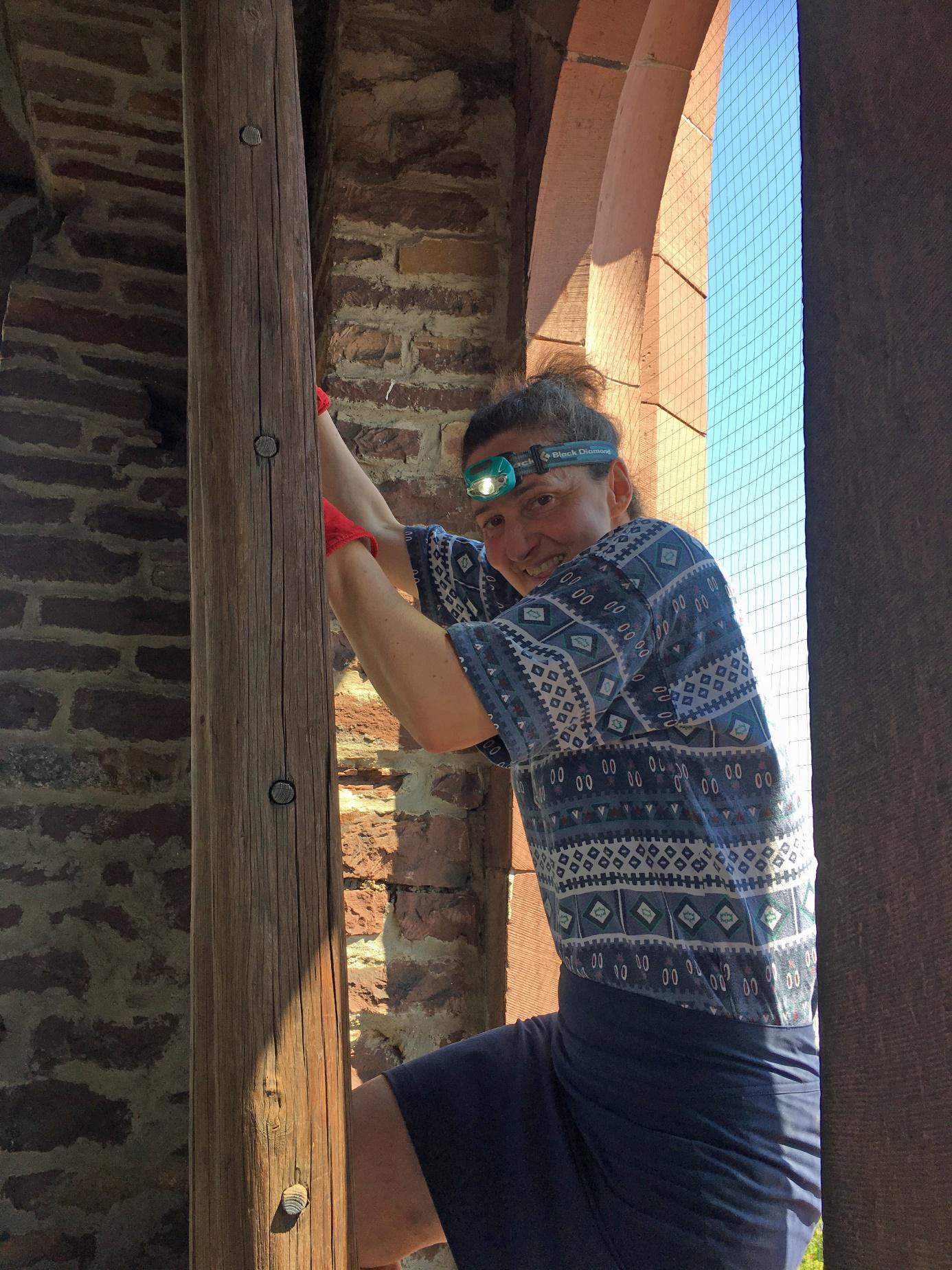 Barbara Ketterer beim Aufstieg zu den Nistkästen Foto: Bernd Petereit