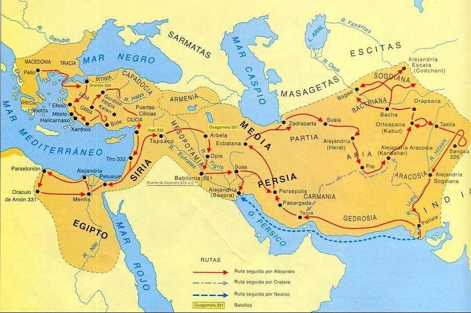 Las campañas de Alejandro Magno.