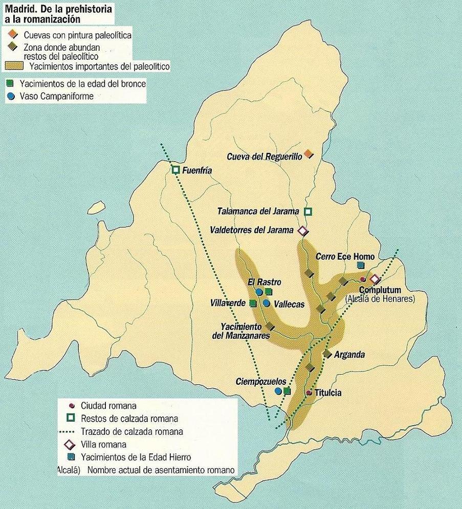 Mapa de Madrid. Prehistoria a Romanización