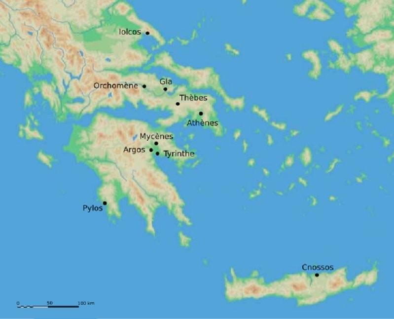 Península Balcánica y Peloponeso. Yacimientos Micénicos