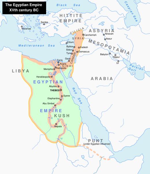 Máxima extensión del Imperio egipcio en el siglo XV a. C.