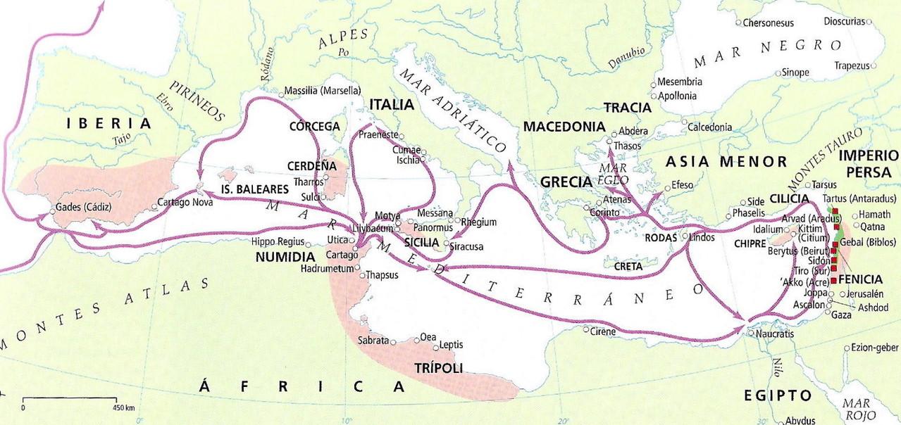 Los fenicios y su expansión por el Mediterráneo.