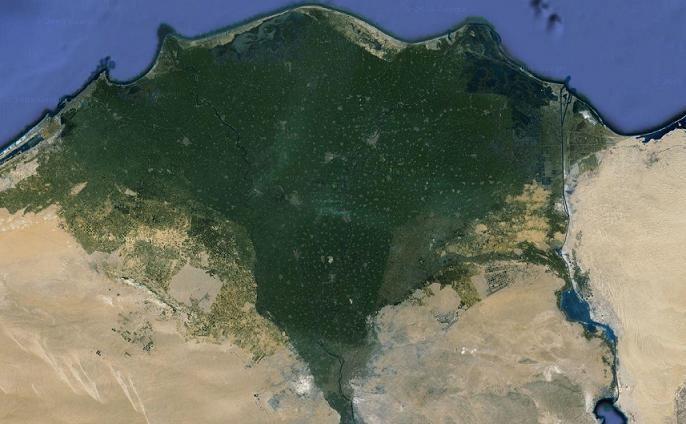 El Bajo Egipto o Delta del Nilo.