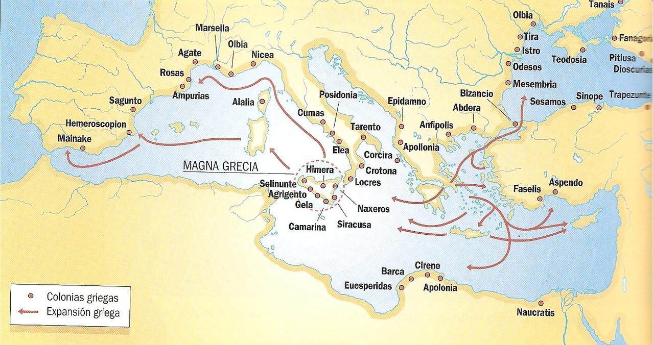 La colonización del Mediterráneo y el mar Negro.
