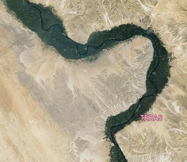 Detalle del Nilo en el Alto Egipto a la altura de Tebas.