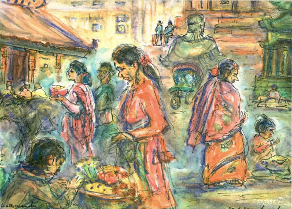 Straße in Kathmandu, 1990