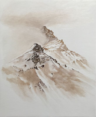 Dans le grand silence, 2019, stylo-crayon-huile sur toile 50 x 60 cm CHF. 480.-