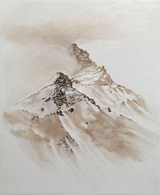 Dans le grand silence, 2019, stylo-crayon-huile sur toile 50 x 60 cm