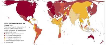 Umsetzung des ökologischen Fußabdrucks auf eine Weltkarte: Rote Länder nehmen die meiste produktive Fläche in Anspruch (mehr als 5,4 Hektar pro Person), hellgelbe am wenigsten (unter 0,9 Hektar)