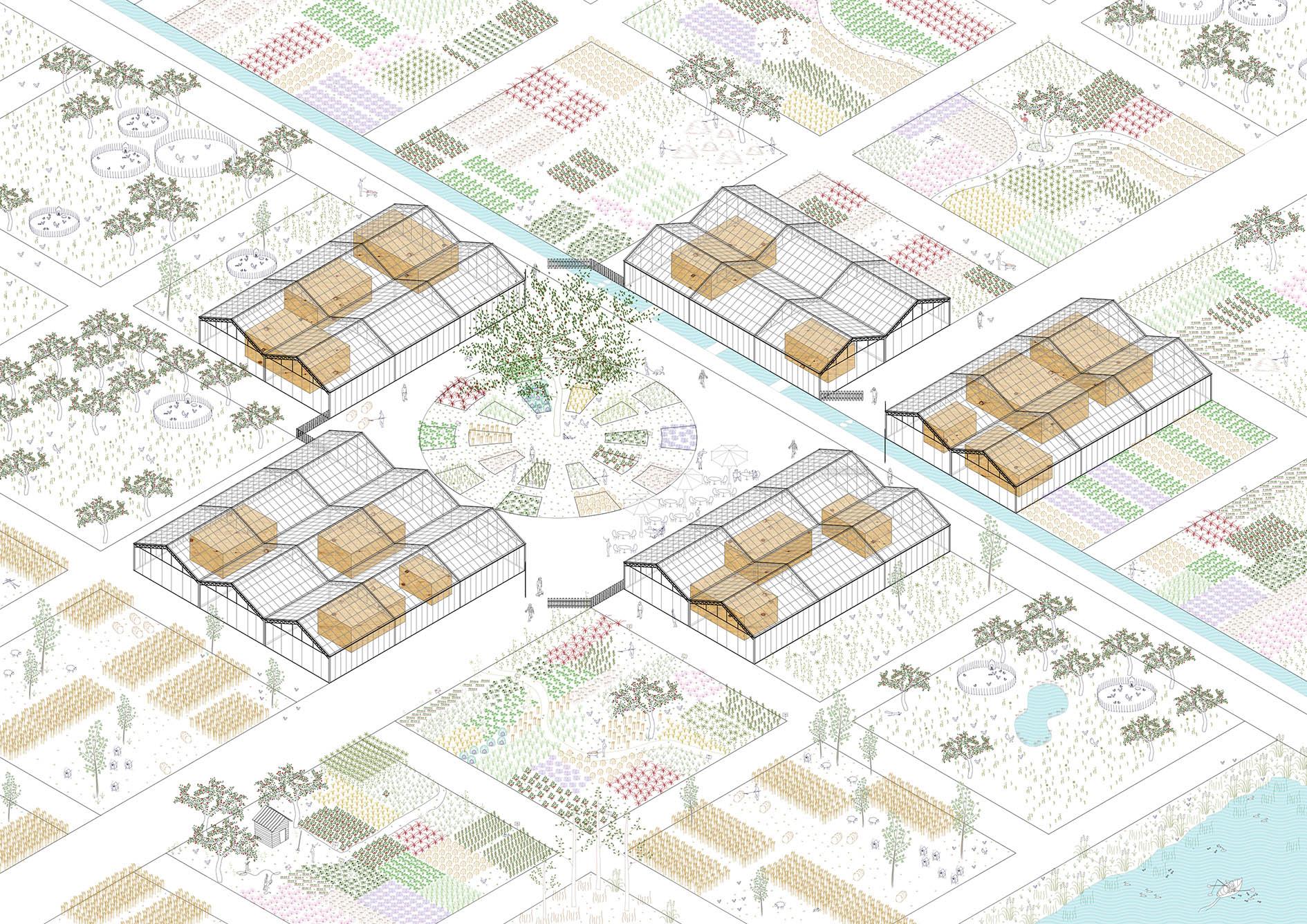 La Cité de l'agriculture - axonométrie de synthèse