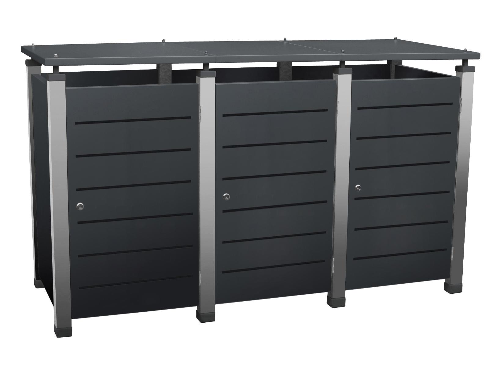 Mülltonnenbox Pacco E Line jetzt optional auch mit Klappdeckel lieferbar.