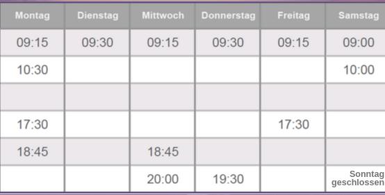 Kalenderübersicht Montag bis Samstag mit Uhrzeiten der Kurse