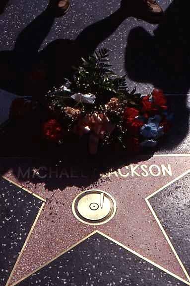 Ehrung für den King of Pop - das Bild stammt aus dem Jahr 1993, die Blumen wurden also nicht aus Gründen der Trauer sondern einfach aus Verehrung dort plaziert