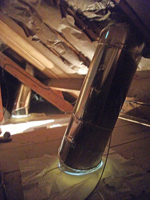 Sun Tunnel (Velux®) tubage - Vue des combles