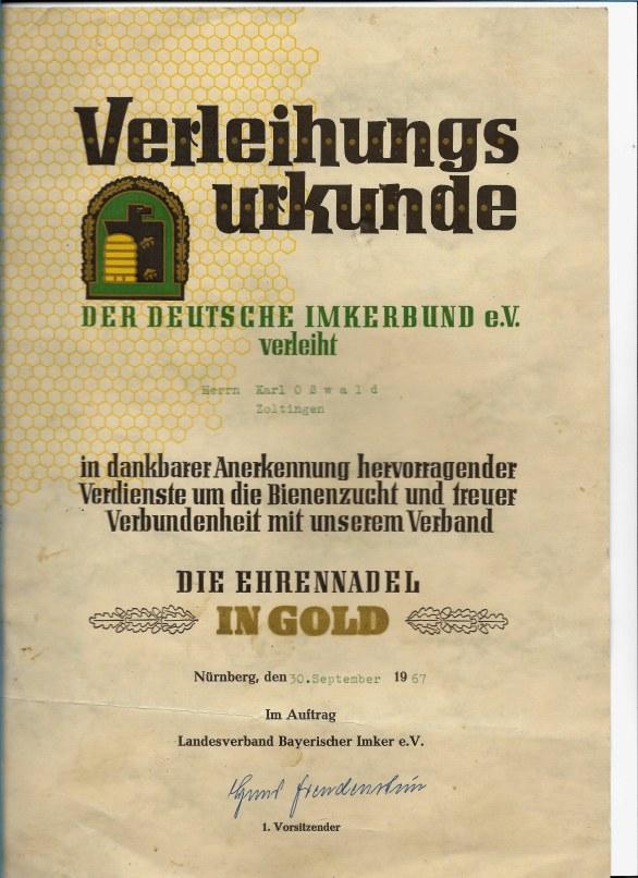Verleihungsurkunde Bild: Ernst Oßwald