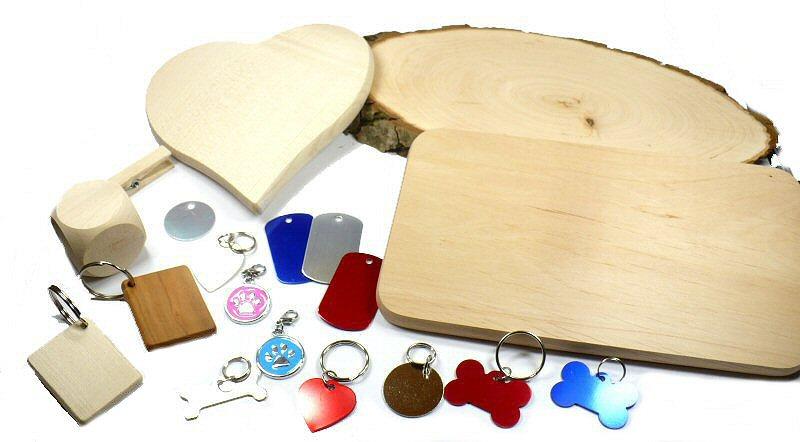 Gravurmaterial aus Metall und Holz