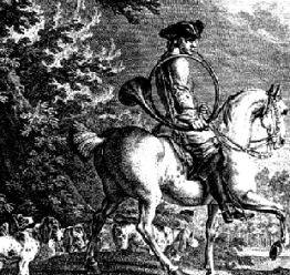 Reiter mit Meute und Parforcehorn - E. Ridinger