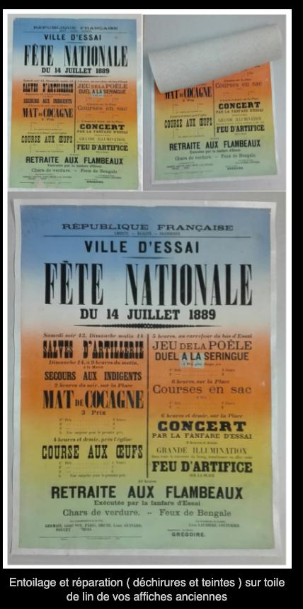 Entoilage affiches anciennes, entoilage cadastre ou autre patrimoine écrit - Michel Gourdelier LE MANS