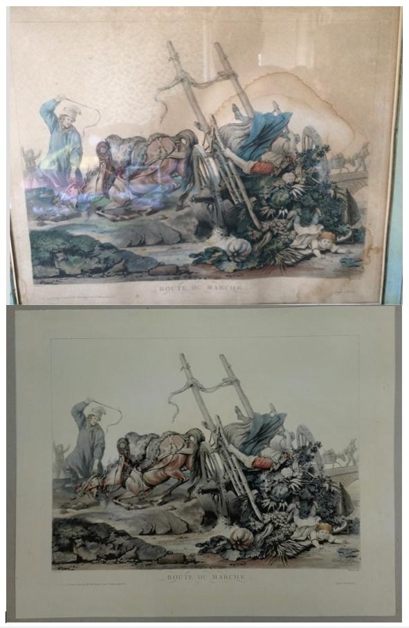 restauration de gravure XIX ème siècle, nettoyage des mouillures et traitement de l'acidité