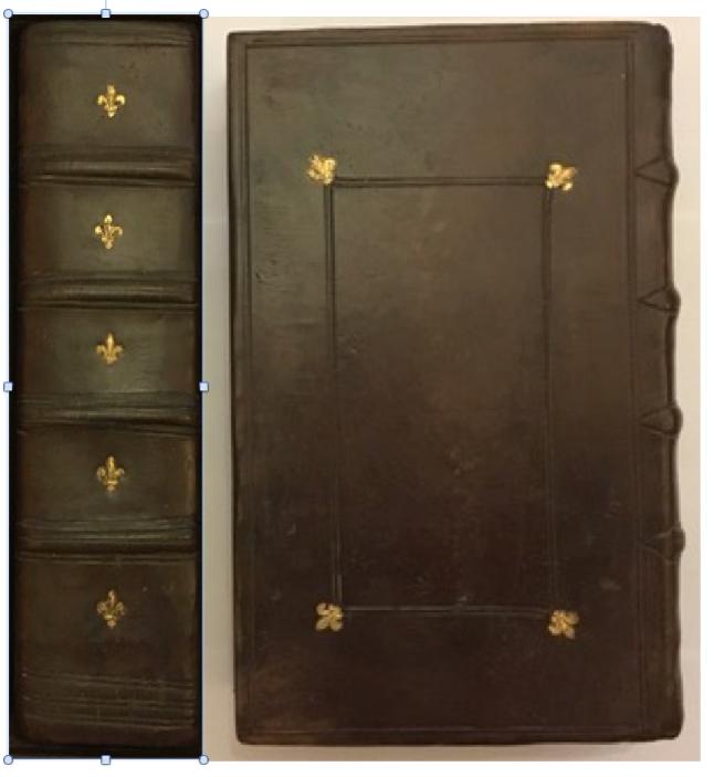 Copie reliure plein cuir 16 ème siècle patinée, décor à froid et fleur de lys, Michel GOURDELIER relieur LE MANS