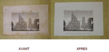 Restauration gravure ancienne , nettoyage .