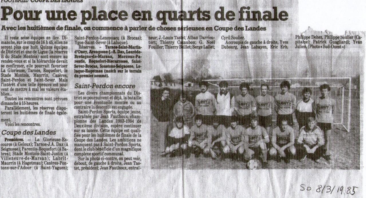 Article du journal Sud-Ouest pour le 8ème de finale de Coupe des Landes 1985 face à Lencouacq (match joué à Brocas)