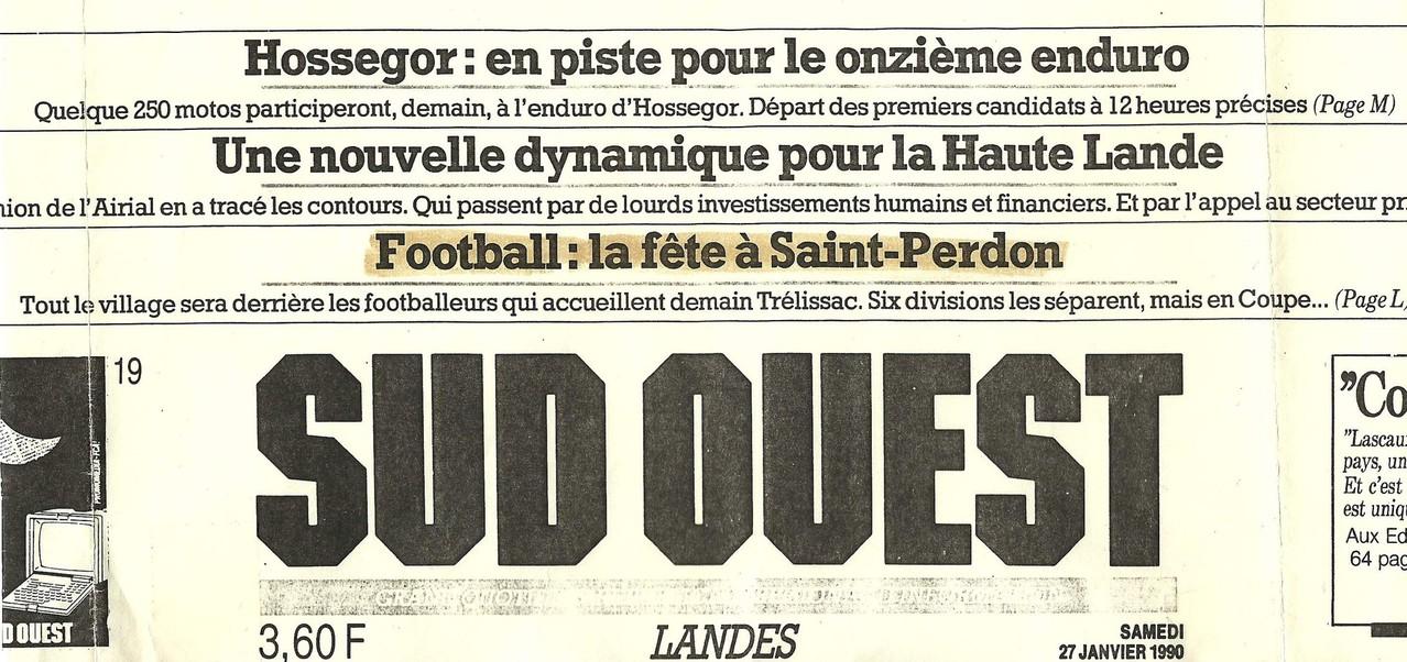 Le Saint Perdon Sports à la Une du journal Sud-Ouest le 27 Janvier 1990