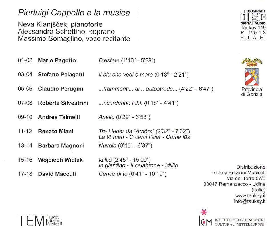 PIERLUIGI CAPPELLO E LA MUSICA Taukay 149  Anello Alessandra Schettino, soprano Neva Klanjscek pianoforte