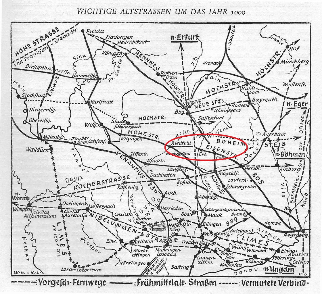Das Altwegenetz um das Jahr 1000 mit Brucks besonderer Lage