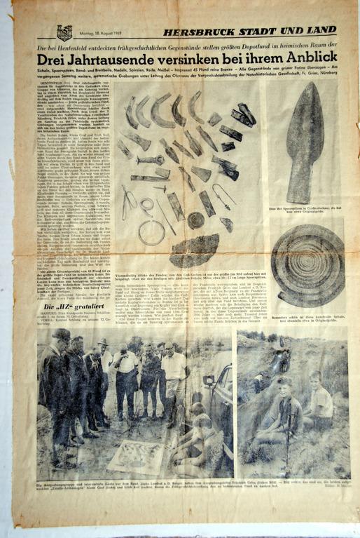 Der Bronze-Hortfund von 1969 als Pressebericht