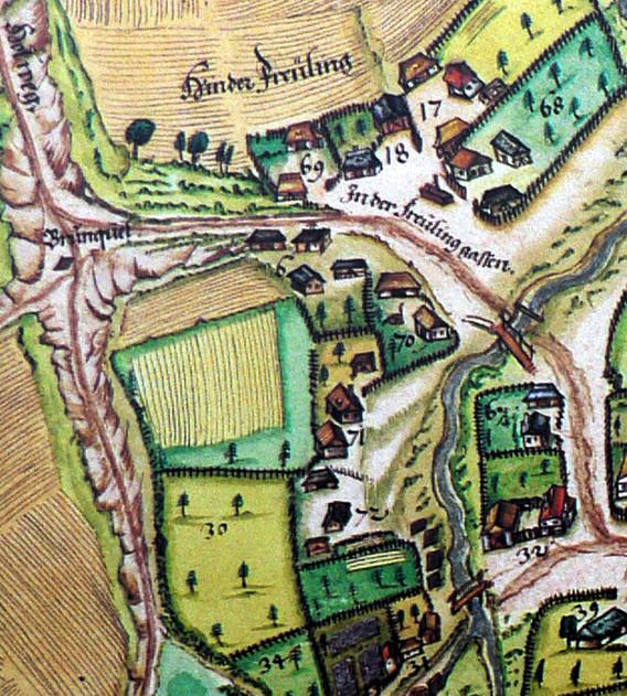 """Ausschnitt aus der genordeten Pfinzing-Ortskarte Henfenfelds von 1592. Indizien für das frühmittelalterliche Freiling: Flur- und Wegnamen """"Hinter Freiling und """"In der Freilinggassen""""."""""""