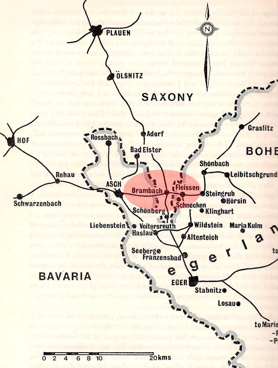Kurze Entfernungen im kleinen Grenzverkehr zwischen Fleißen im Egerland (bis 1834 ohne Kirche) und Brambach im sächsischen Vogtland