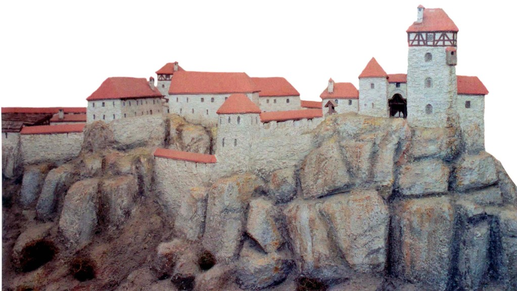 Burgmodell, Teilansicht von Osten mit der Hauptburg im Vordergrund