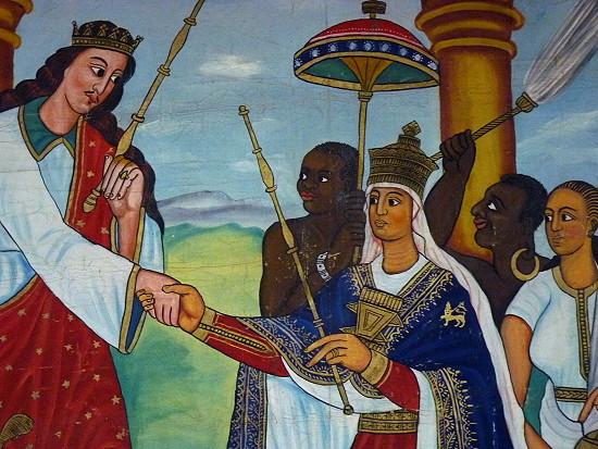 König Salomon begrüßt die Königin von Saba (man beachte den Negerjungen im Hintergrund!)