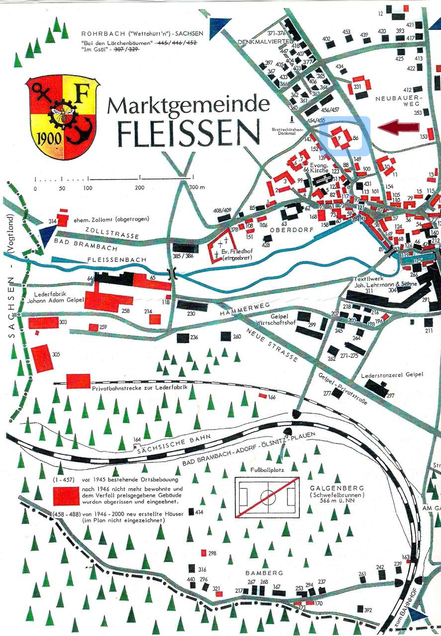 """Die Lage des Hofs im ältesten Fleißener Ortsteil """"Oberdorf"""". Alte und neue Hausnummer zeigen die Erweiterung zum Vierseithof."""
