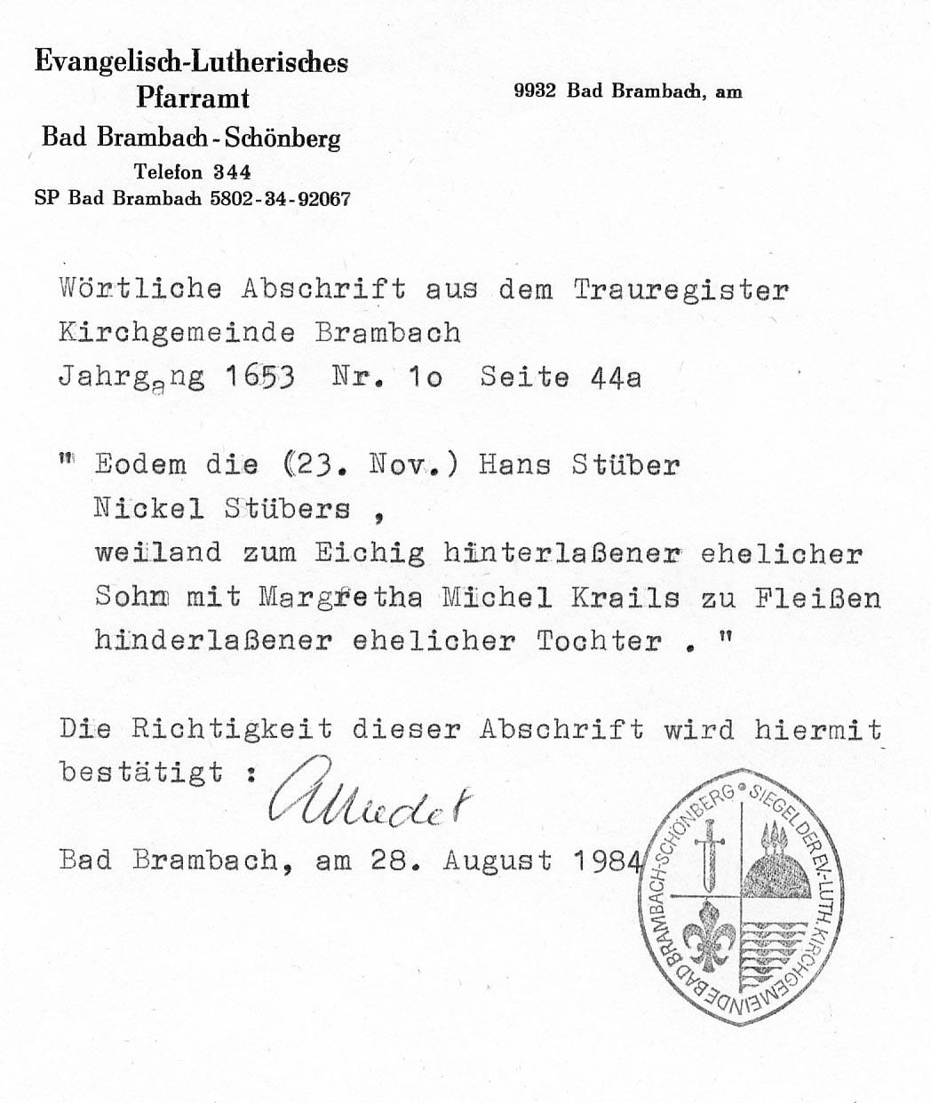 """Abschrift des Heiratseintrags von Hans """"Stüber"""" und Margaretha Krail aus dem Jahr 1653"""