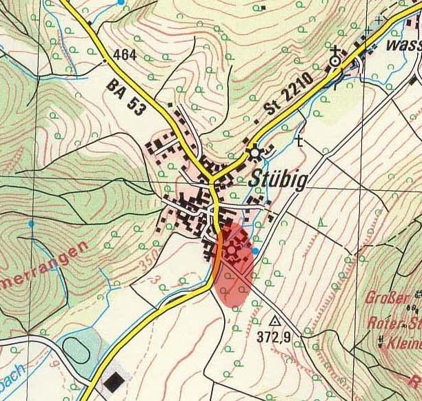 Lage der Unteren Mühle in Stübig. Vielleicht befand sich in der Nähe auch der Ansitz der Stübig (später Eigentum der Ochs) der 1430 zestört wurde...