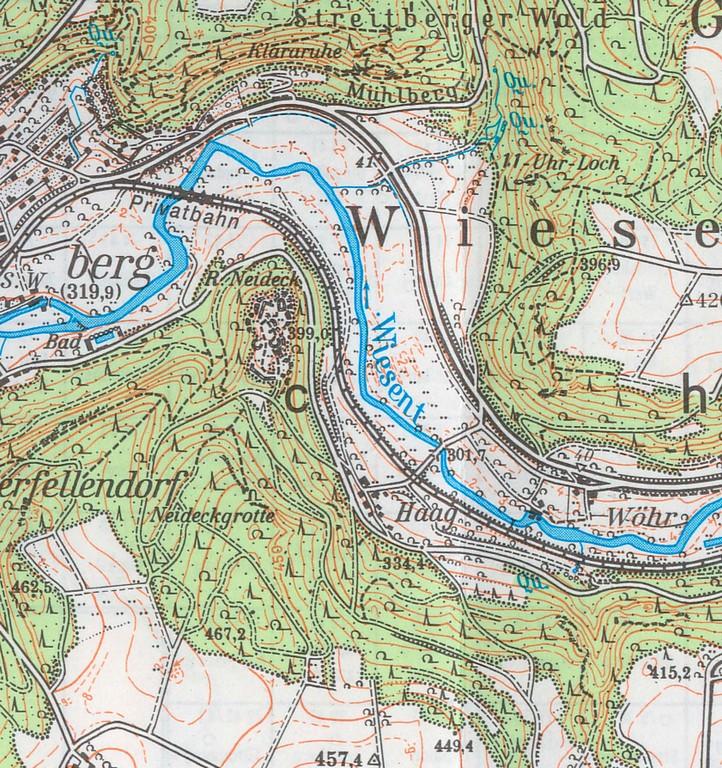 Der Neideck-Bergstock oberhalb des Wiesentknies und seine Umgebung auf der Topografischen Karte