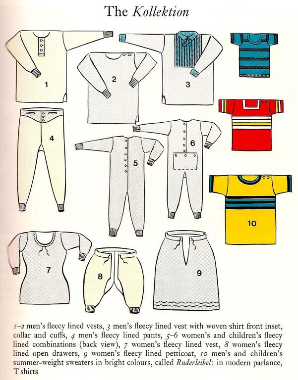 """Typische Strickwaren-Kollektion (hier: Firma Päsold): Unterwäsche und bunte """"Ruderleibel"""" (T-Shirts) für den Export"""