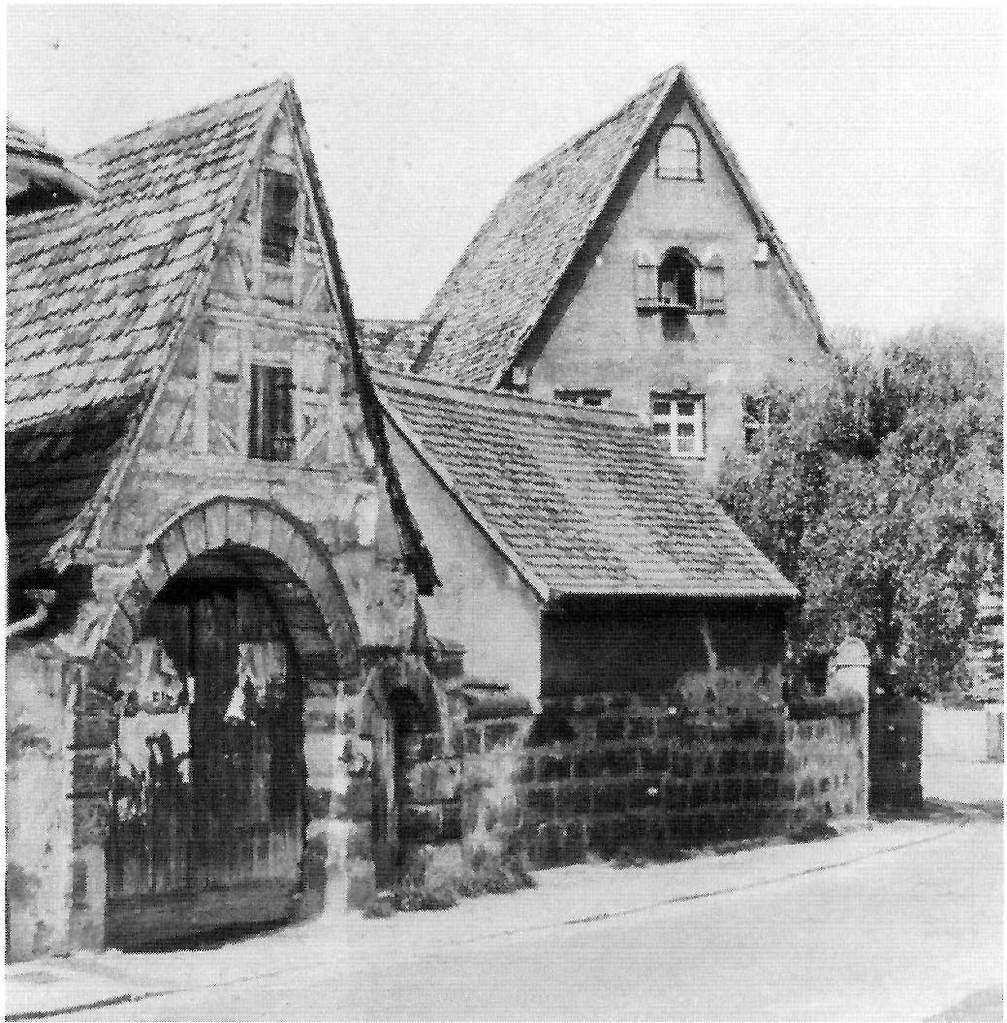Detailansicht von Hof-Gebäuden auf einem ehemaligen Strobel'schen Lehen, ca. 1950