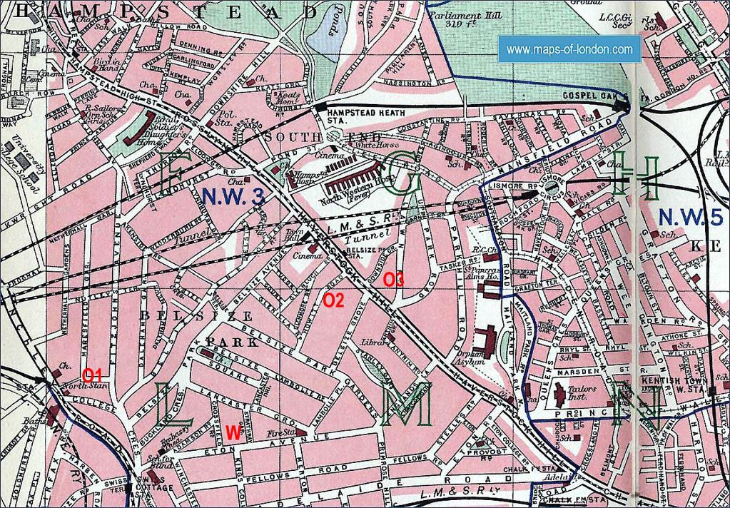 Wohnorte von Werner (=W) und Otto (=O1-O3) in Hampstead 1939 bis 1943/44 (Stadtplan von 1940: Maps of London)